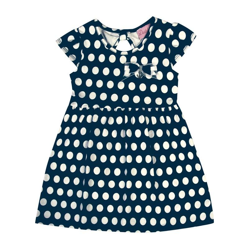 Vestido Bebê Menina Bolinha Azul