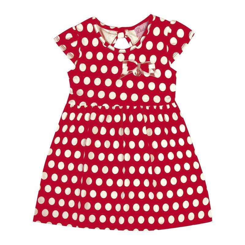 Vestido Bebê Menina Bolinha Vermelha