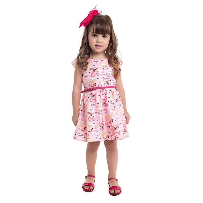 Vestido Paytê Infantil Menina Cachorrinho Rosa