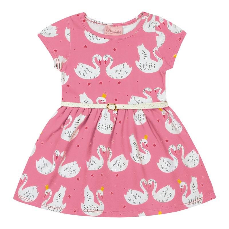 Vestido Bebê Menina Cisne Rosa