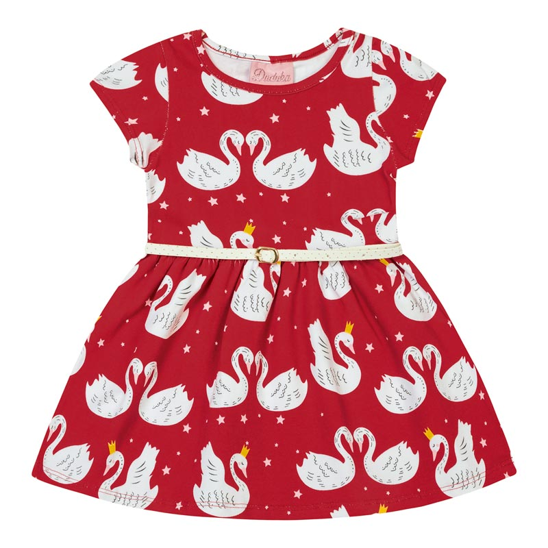 Vestido Bebê Menina Cisne Vermelho