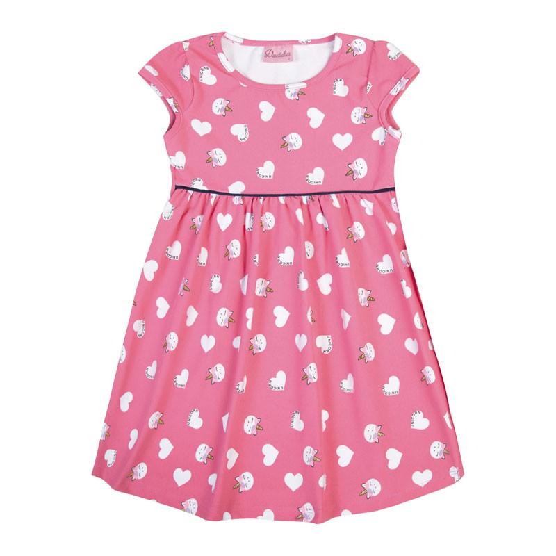 Vestido Bebê Menina Coração Rosa