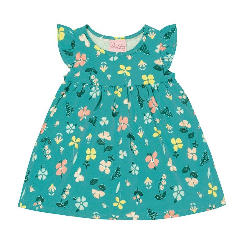 Vestido Bebê Menina Floral Verde