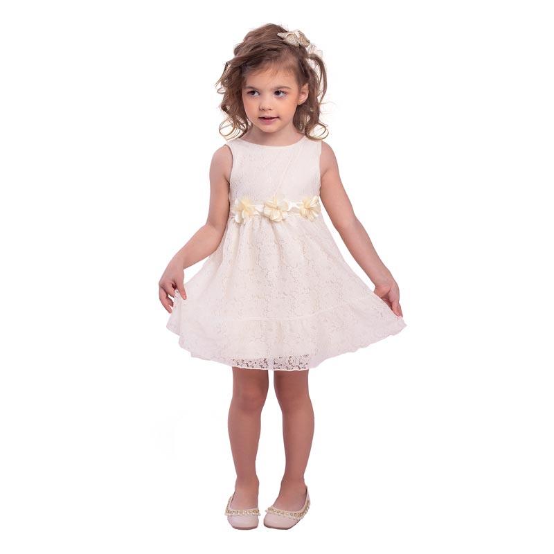Vestido Bebê Menina Flores Bege