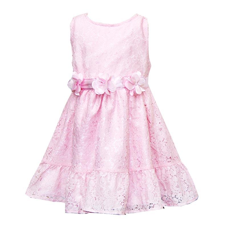 Vestido Bebê Menina Flores Rosa