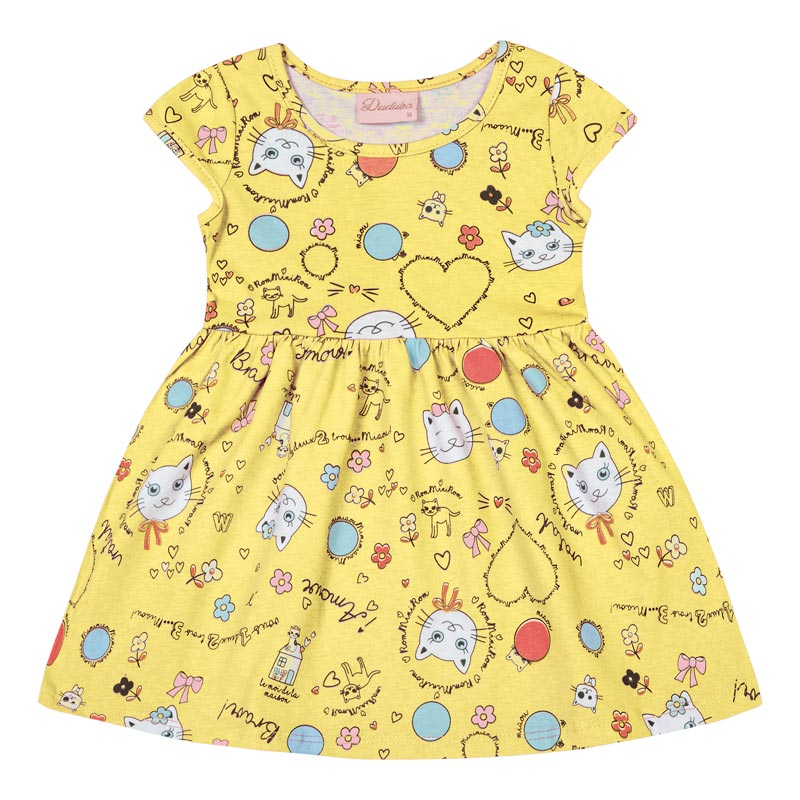 Vestido Bebê Menina Gatinho Amarelo