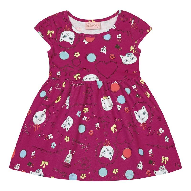 Vestido Bebê Menina Gatinho Rosa