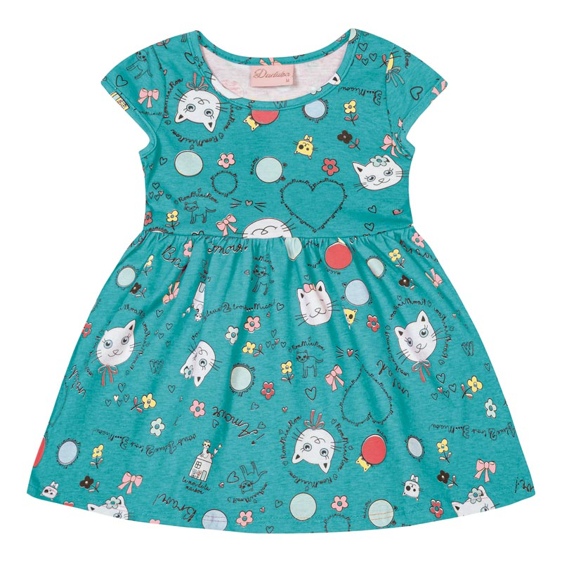 Vestido Bebê Menina Gatinho Verde