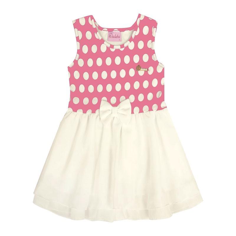 Vestido Bebê Menina Laço Rosa