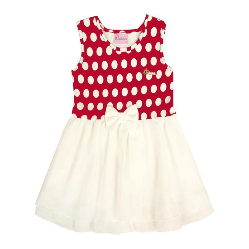 Vestido Bebê Menina Laço Vermelho