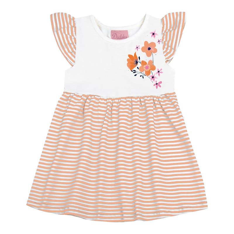 Vestido  Bebê Menina Listrado Laranja