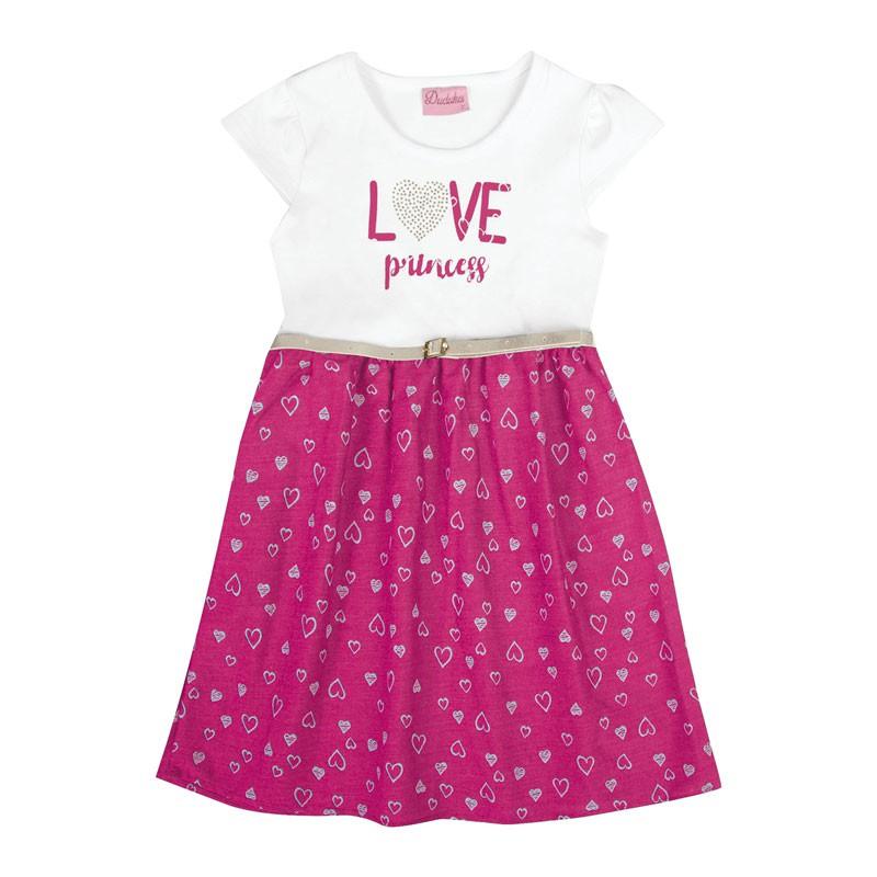 Vestido Duduka Infantil Menina Love Princess Rosa