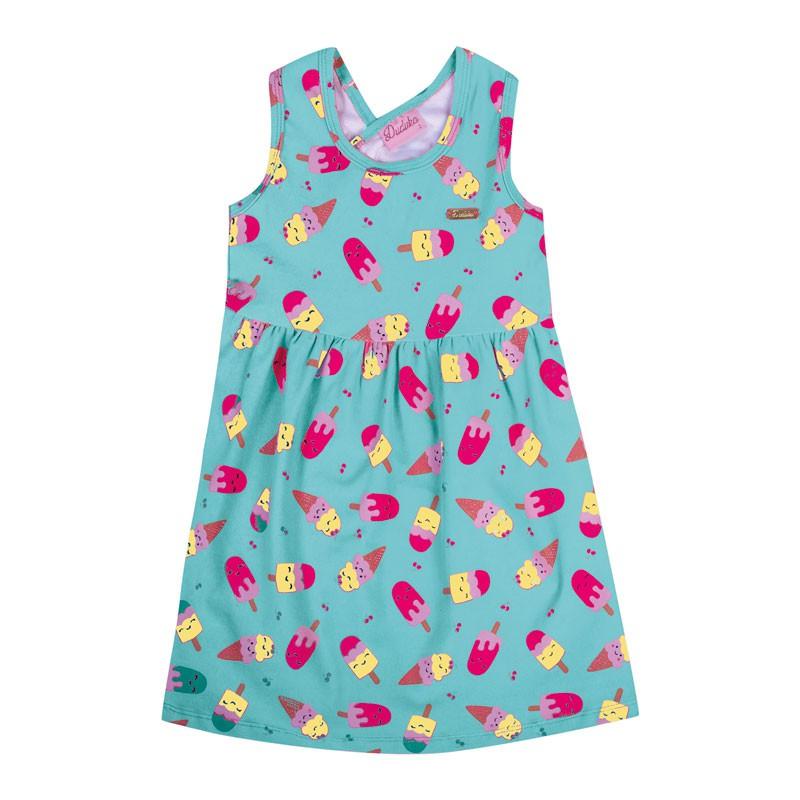 Vestido Bebê Menina Picolé Azul /Rosa