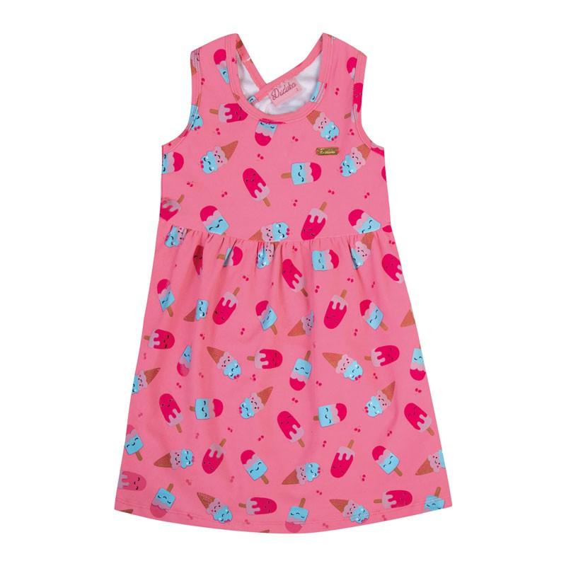 Vestido Bebê Menina Picolé Rosa
