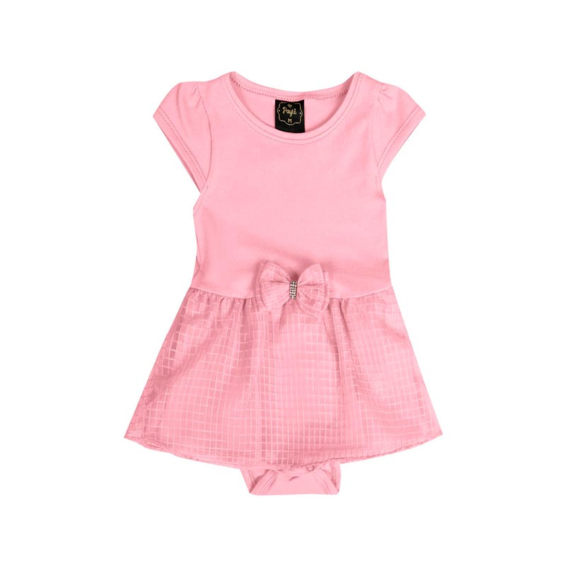 Vestido Body Paytê Bebê Menina Laço Rosa
