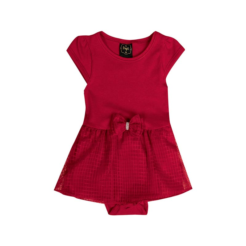 Vestido Body Paytê Bebê Menina Laço Vermelho