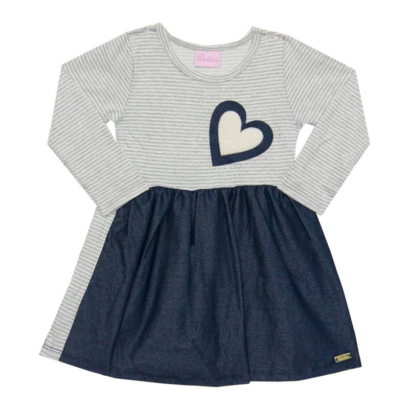 Vestido Duduka Infantil Coração Azul