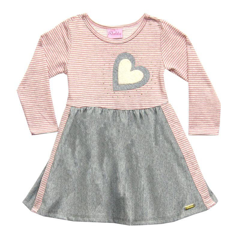 Vestido Duduka Infantil Coração Rosa