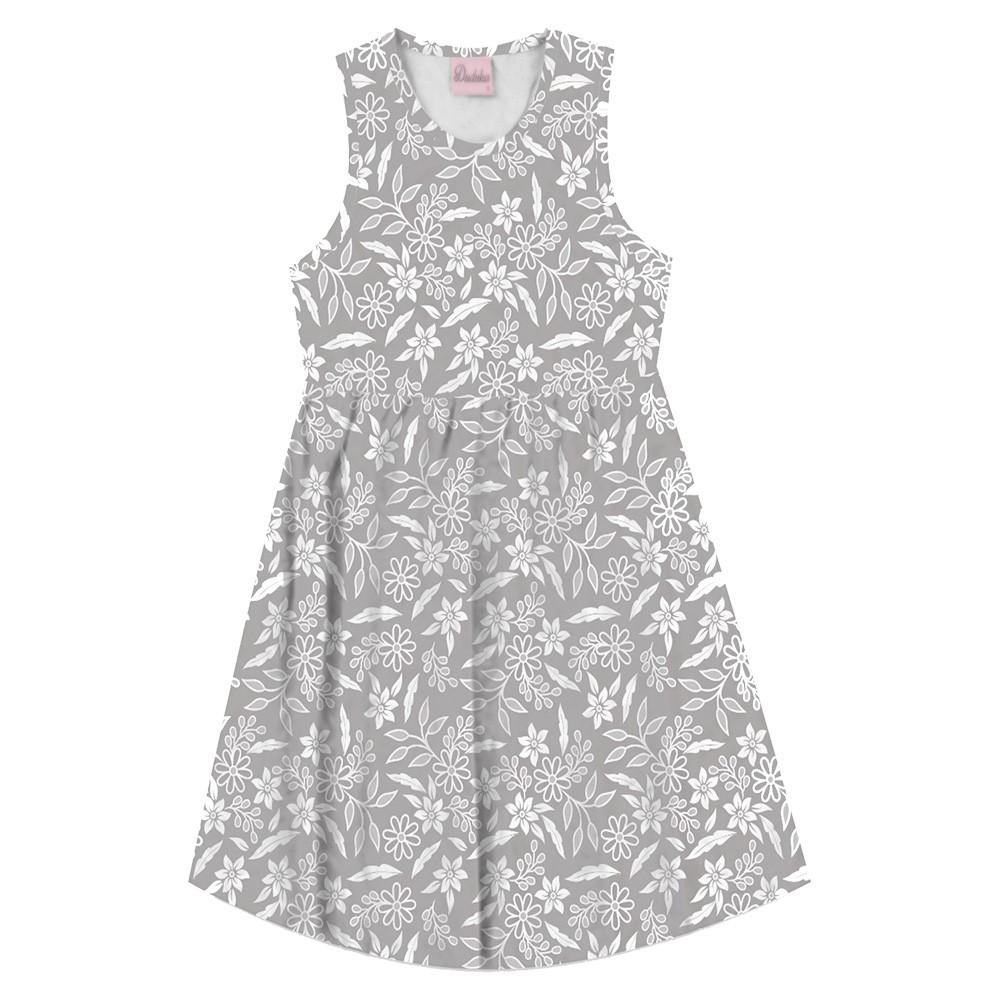 Vestido Duduka Infantil Flores Cinza
