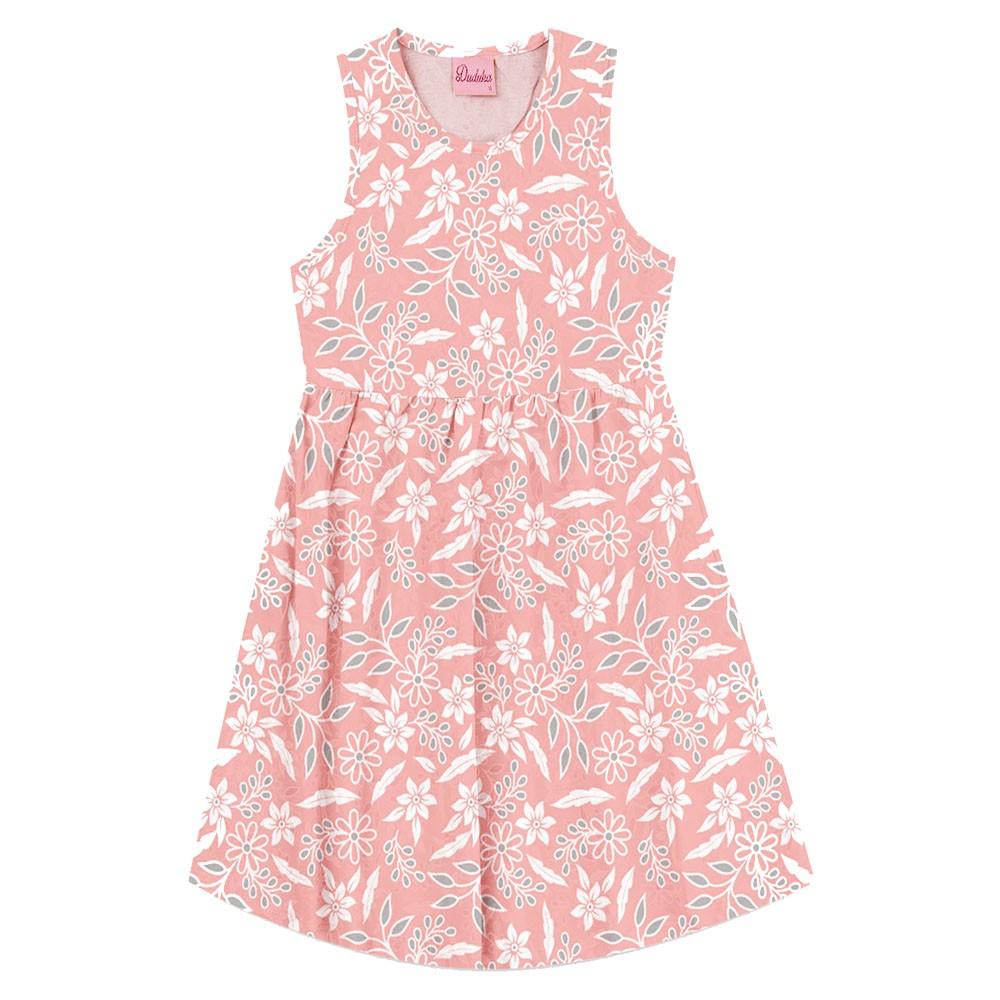 Vestido Duduka Infantil Flores Rosa