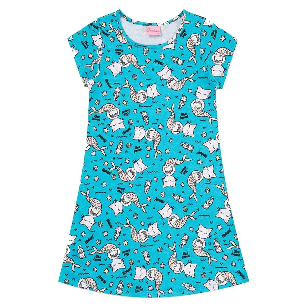 Vestido Duduka Infantil Gatinho Azul