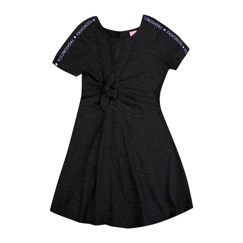Vestido Duduka Infantil Menina Amarração Preto