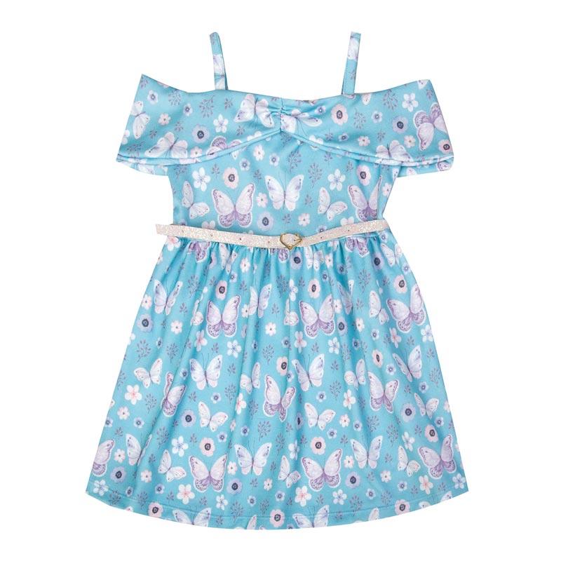 Vestido Duduka Infantil Menina Borboletas Azul