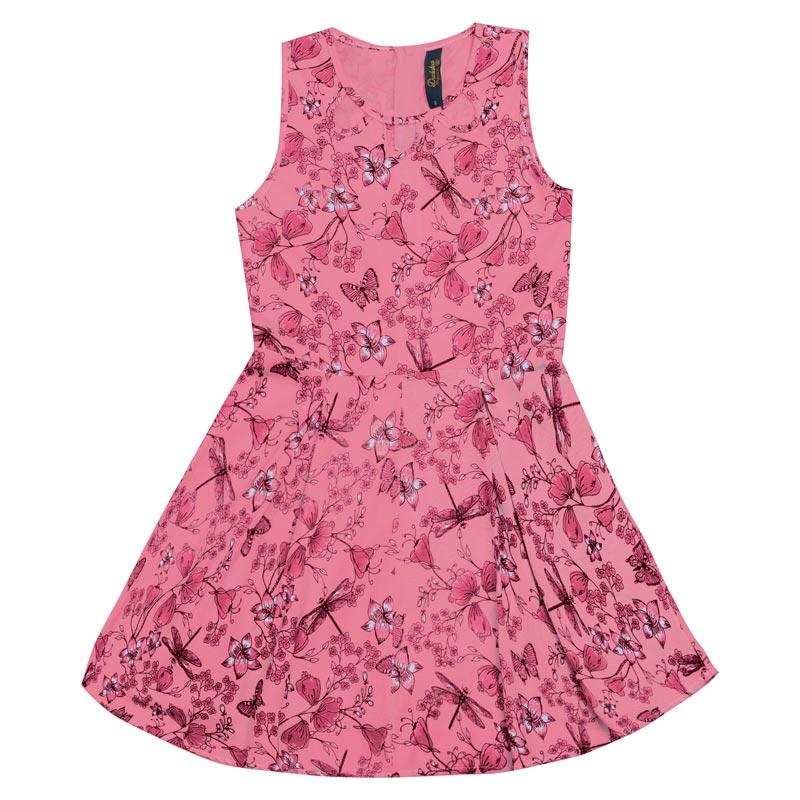 Vestido Duduka Infantil Menina Borboletas Rosa