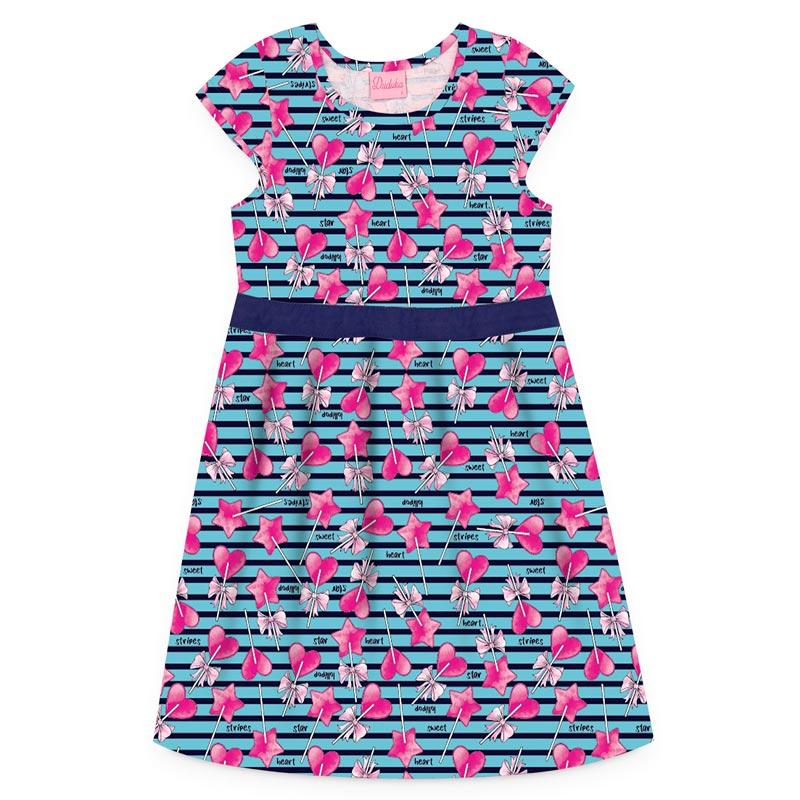 Vestido Duduka Infantil Menina Coração Azul