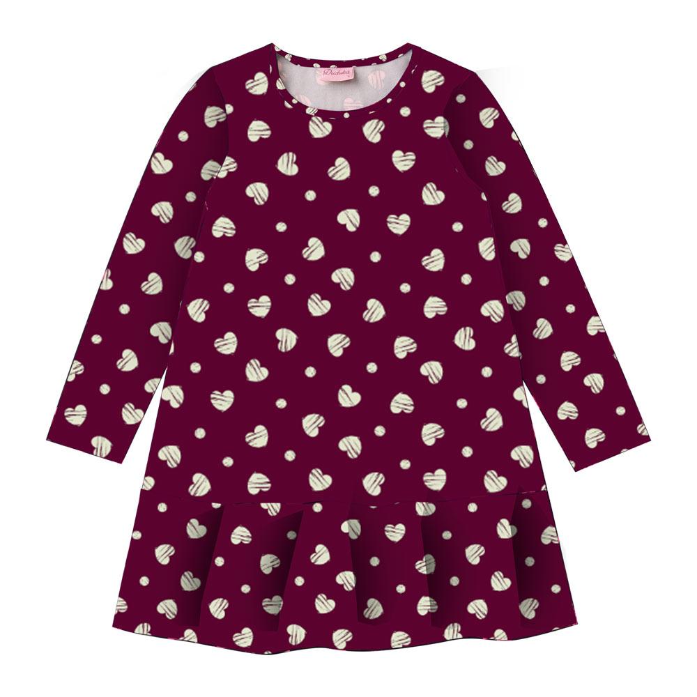 Vestido Duduka Infantil Menina Coração Bordo