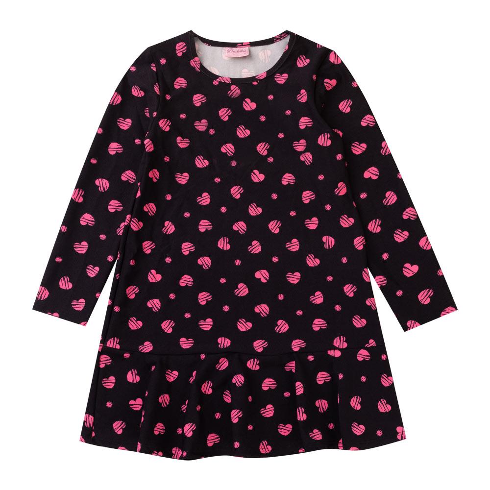 Vestido Duduka Infantil Menina Coração Preto