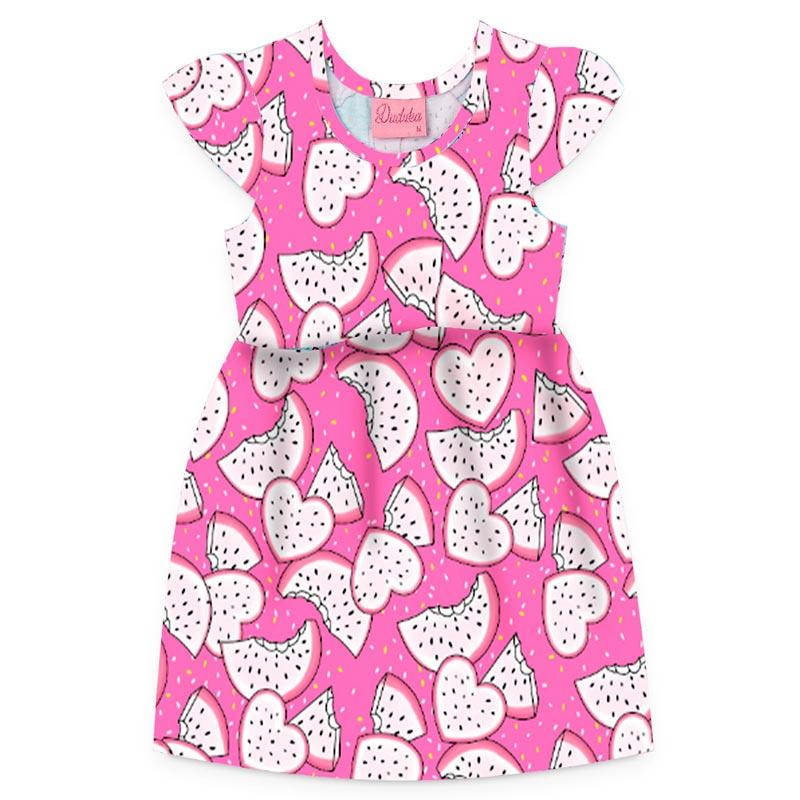 Vestido Duduka Infantil Menina Coração Rosa