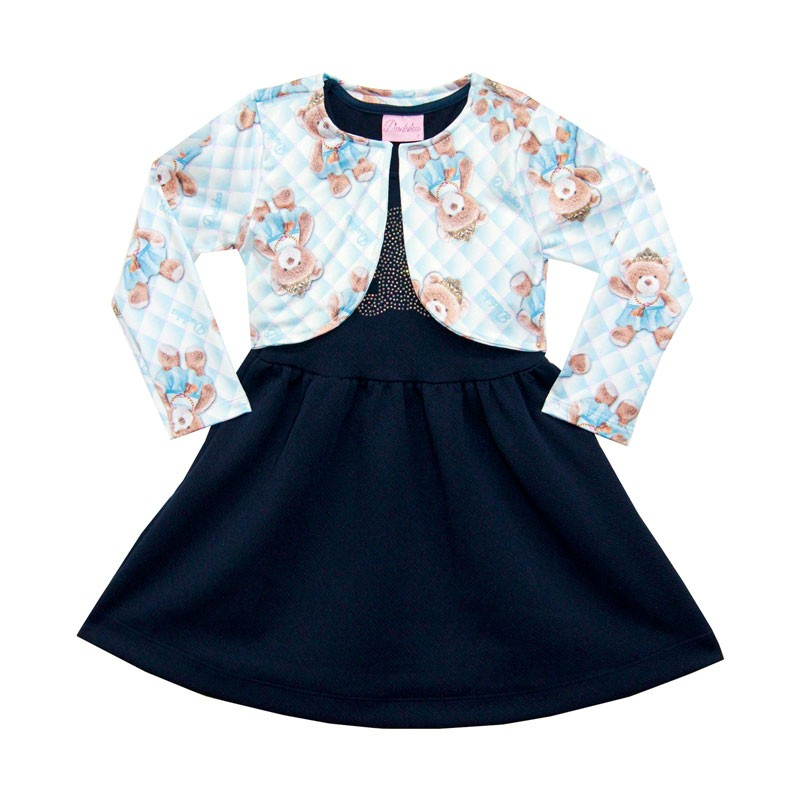 Vestido Duduka Infantil Menina e Bolero Ursinho Azul