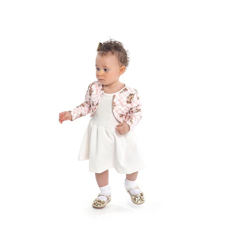 Vestido Duduka Infantil Menina e Bolero Ursinho Bege