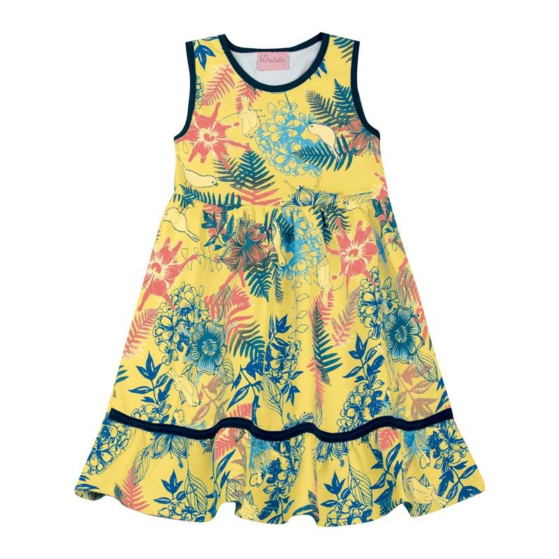 Vestido Duduka Infantil Menina Estampado Amarelo