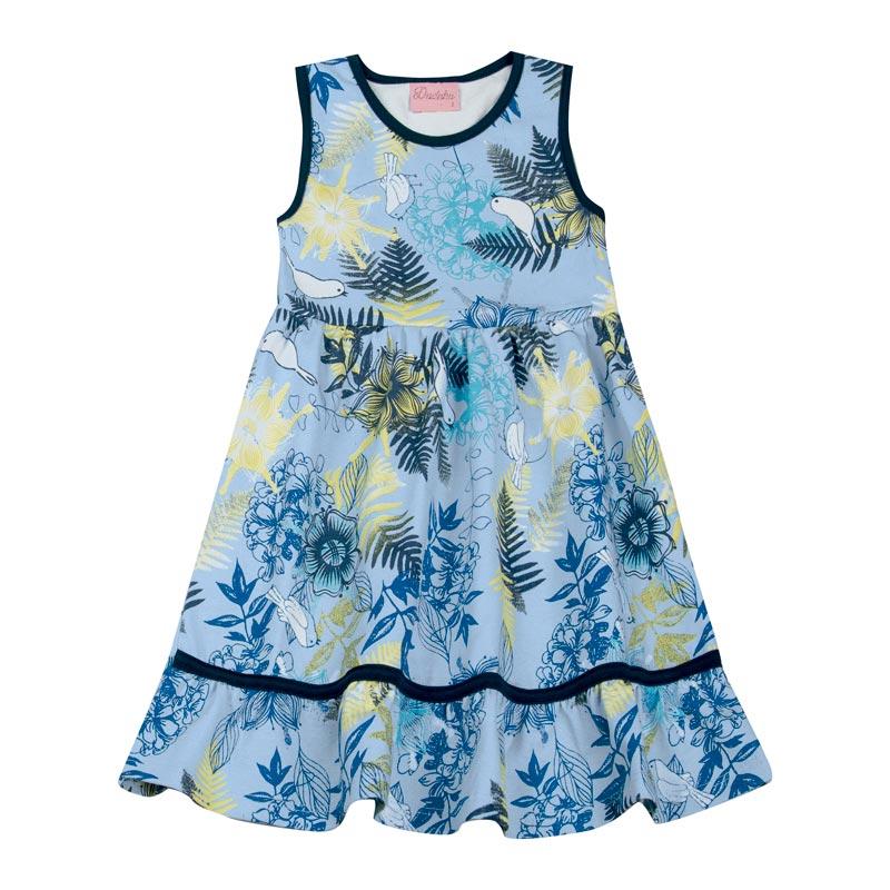 Vestido Duduka Infantil Menina Estampado Azul