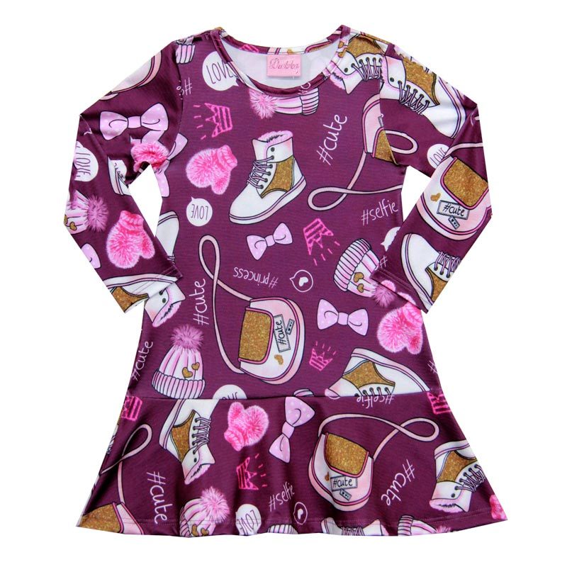 Vestido Duduka Infantil Menina Estampado Bordo