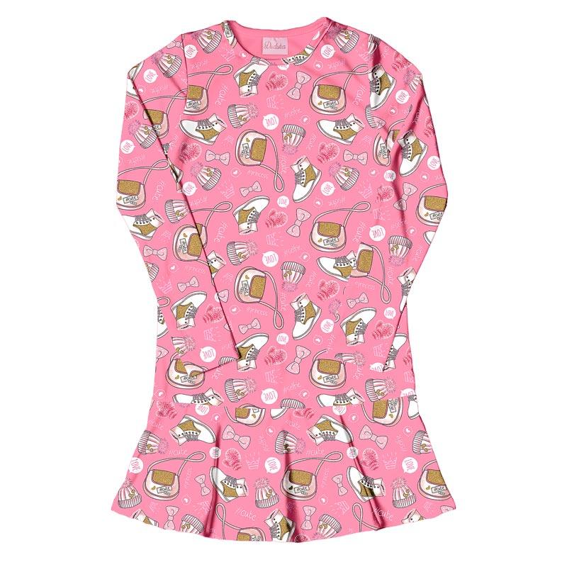 Vestido Duduka Infantil Menina Estampado Rosa