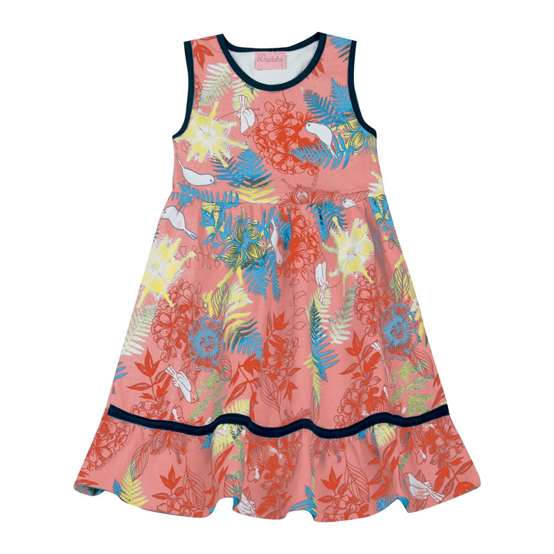 Vestido Duduka Infantil Menina Estampado Salmão