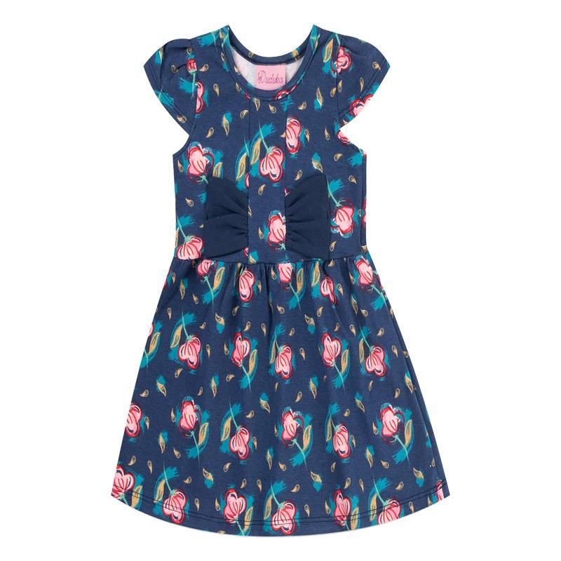 Vestido Duduka Infantil Menina Flor Azul