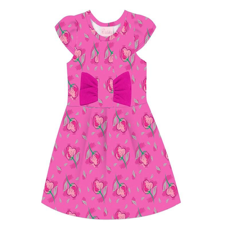 Vestido Duduka Infantil Menina Flor Rosa