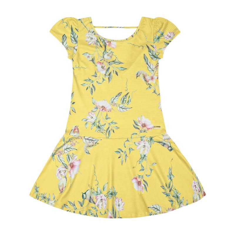 Vestido Duduka Infantil Menina Flores Amarelo