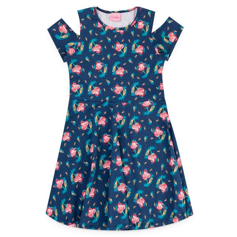 Vestido Duduka Infantil Menina Flores Azul