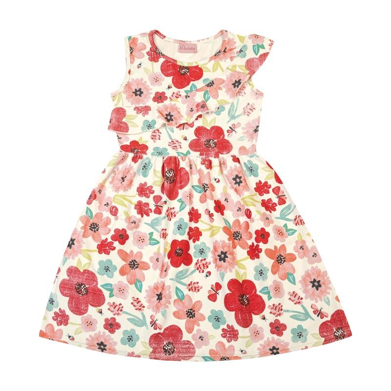 Vestido Duduka Infantil Menina Flores Bege