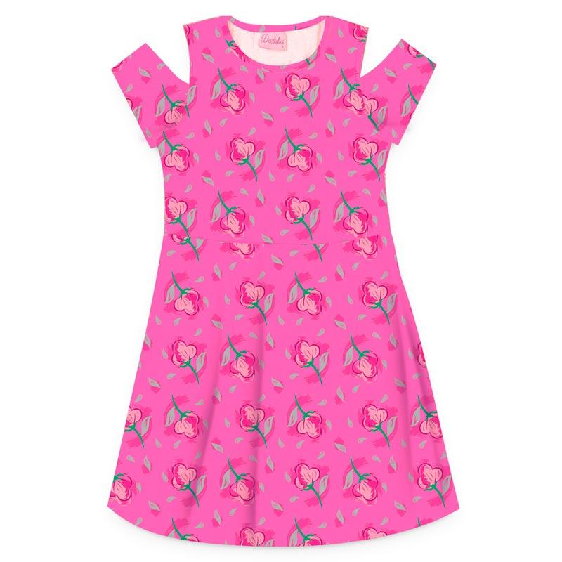 Vestido Duduka Infantil Menina Flores Rosa