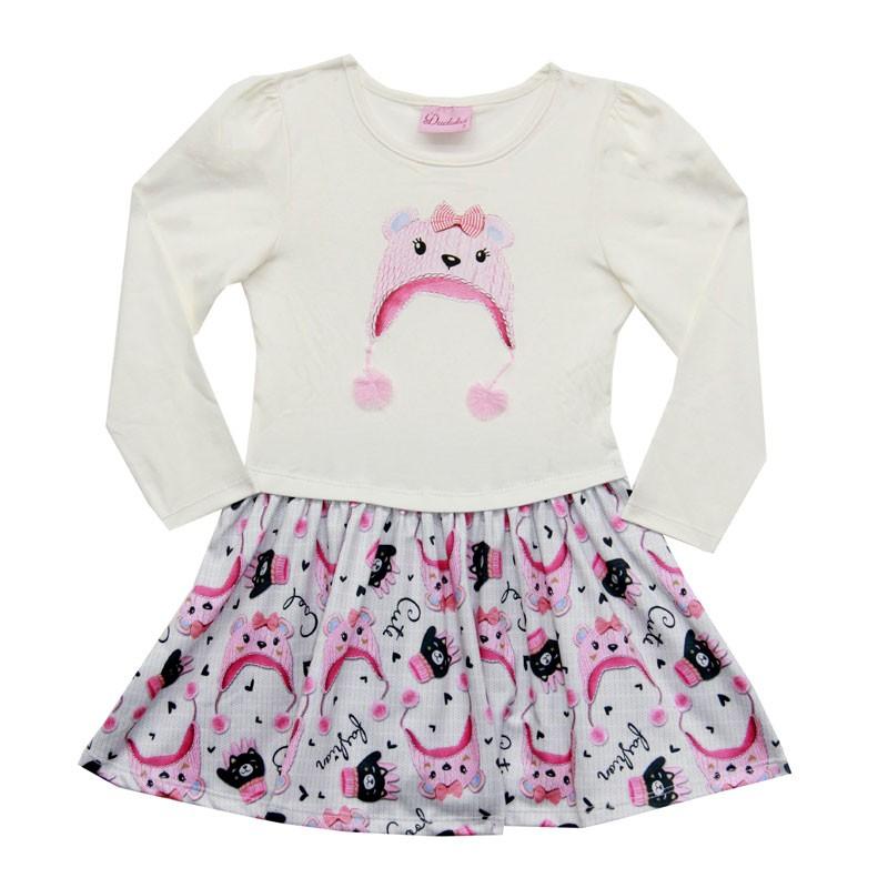 Vestido Duduka Infantil Menina Gatinha Bege