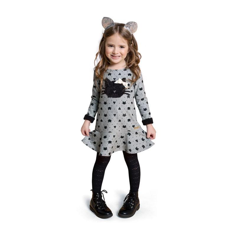Vestido Duduka Infantil Menina Gatinha Cinza