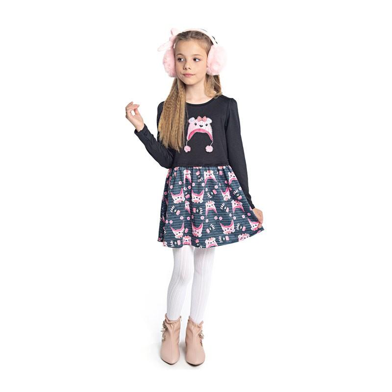 Vestido Duduka Infantil Menina Gatinha Preto