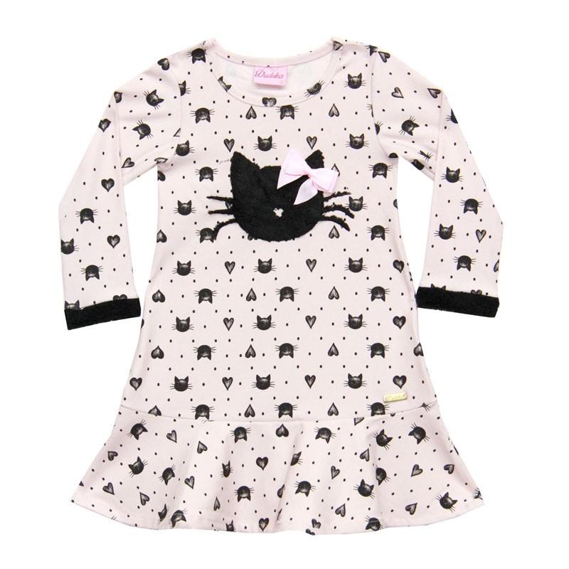 Vestido Duduka Infantil Menina Gatinha Rosa