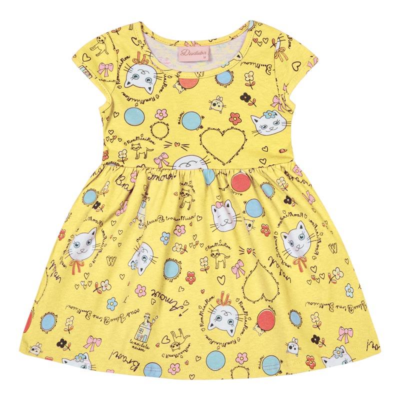 Vestido Duduka Infantil Menina Gatinho Amarelo